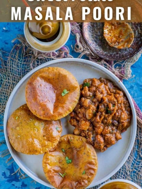 Sweet Potato Masala Puri served with curry on a plate and text at the top