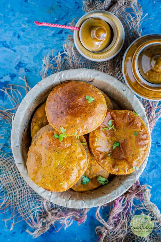a bowl filled with Sweet Potato Masala Puri