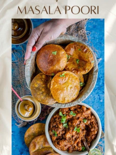 a couple of Sweet Potato Masala Puri placed next to a bowl of curry and text at the top