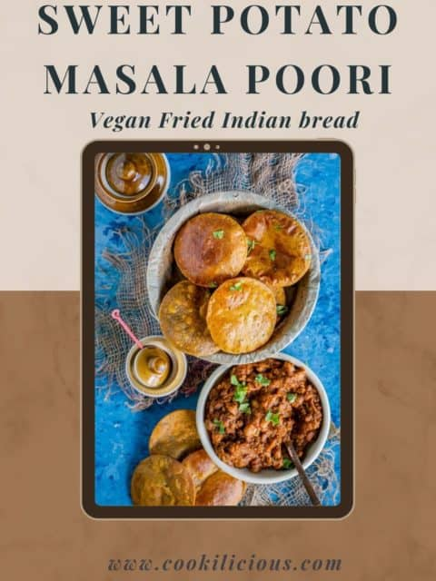 a couple of Sweet Potato Masala Puri placed next to a bowl of curry and text at the top and bottom