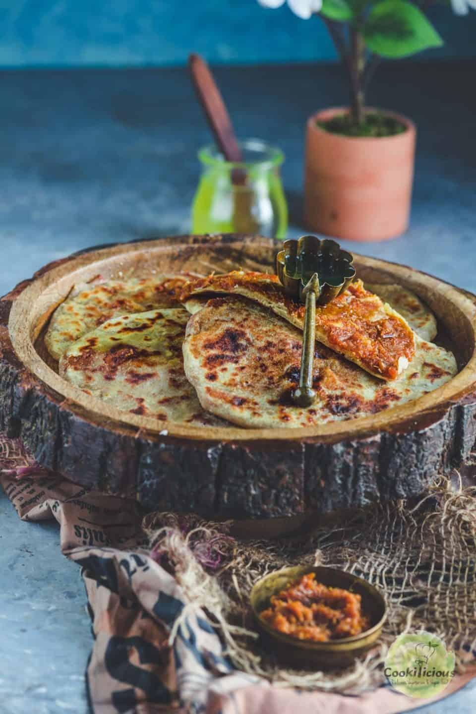 sweet potato puran poli served in a tray