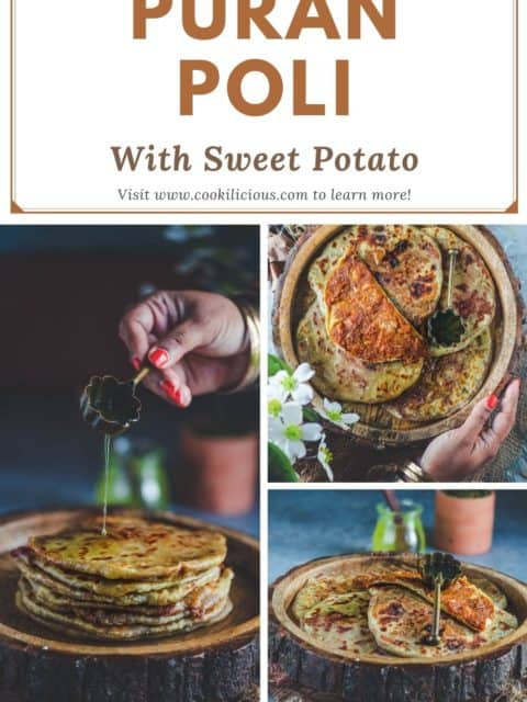 3 image collage of sweet potato puran poli with text at the top