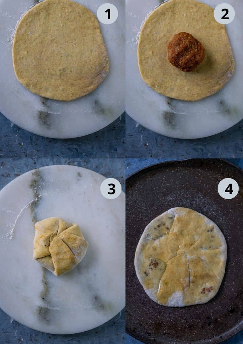 4 image collage showing how to make sweet potato puran poli